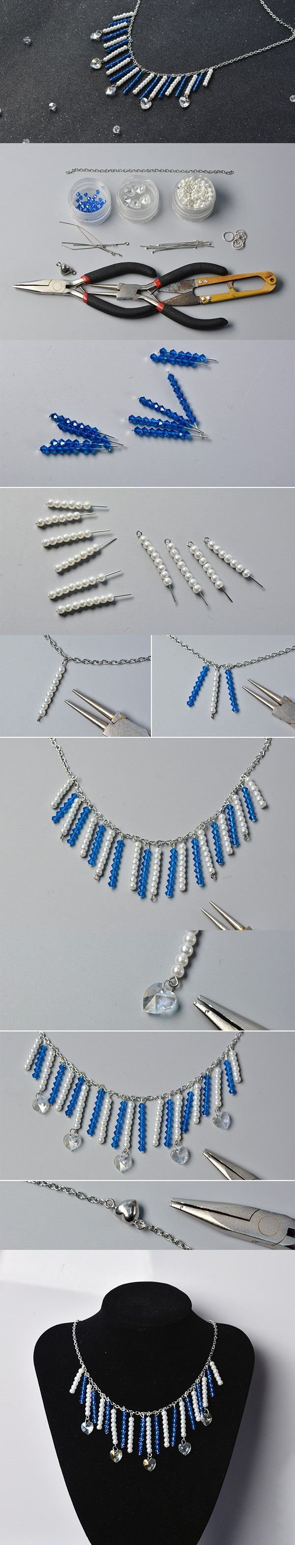 Making Beaded Tassels Chain Necklace with Heart Beads