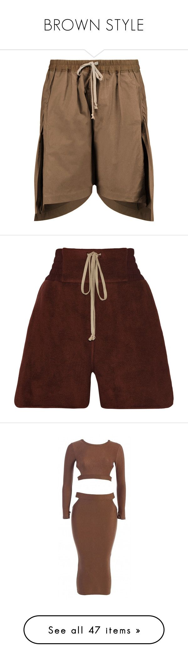 """""""BROWN STYLE"""" by neide-goncalvesbrito on Polyvore featuring shorts, brown, rick owens shorts, pull on shorts, brown shorts, asymmetrical shorts, rick owens, red, red shorts et tops"""