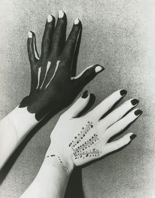 "Man Ray - Hands Painted by Picasso, 1935 (Many other ""hands"" are included on this site.)"