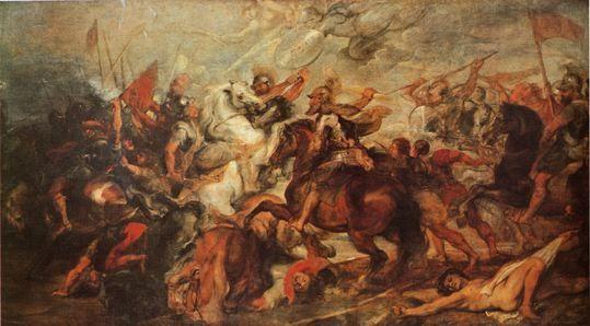 Henri IV à la Bataille d'Ivry - Rubens, entre 1660 et 1630. Peinture sur huile conservée au Musée des Offices, Florence.- Cette bataille décisive de la fin des guerres de Religion met aux prises la Ligue commandée par Charles de Lorraine Duc de Mayenne, lieutenant général du royaume (16 000 hommes dont nombre de mercenaires germaniques et hispaniques) et l'armée royale (11 000 soldats d'Henri IV).