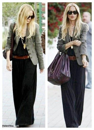 By wearing it with structured blazer and high platform shoes, Rachel Zoe looks polished and sophisticated
