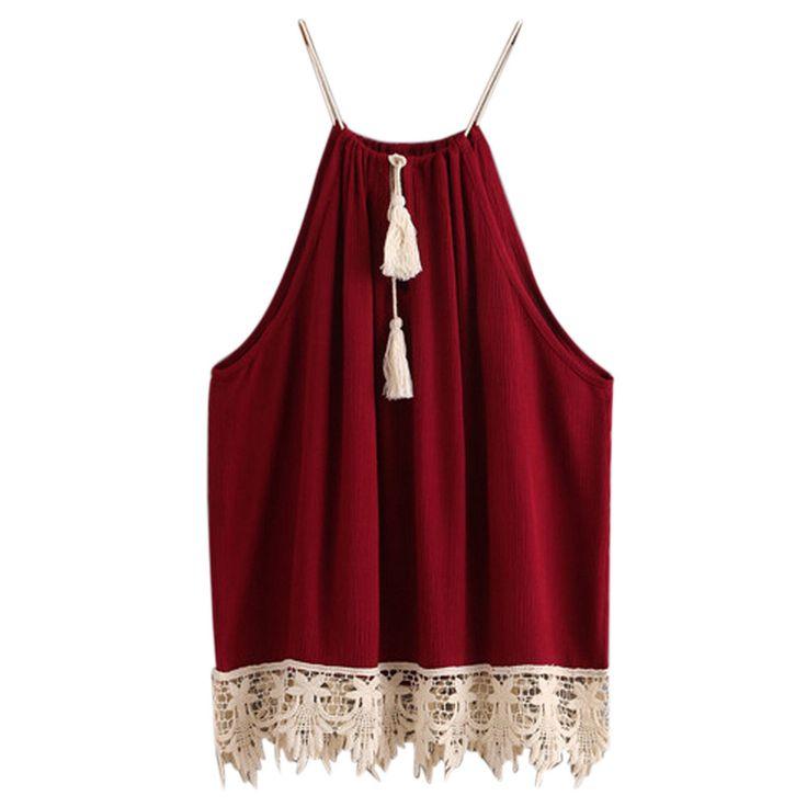 Baru kedatangan Wanita Atasan Padat elegant lace tops Dipangkas Tasselled Serut Tank top berongga out Sling T shirt #48