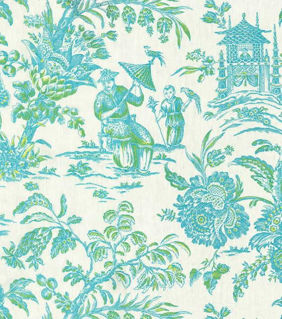 Linen Asian Arcadia Lagoon - Asian Toile - Drapery Fabric - Upholstery Fabric by the Yard