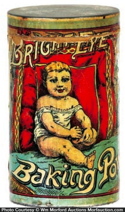 Antique Advertising | Bright Eye Baking Powder Tin • Antique Advertising