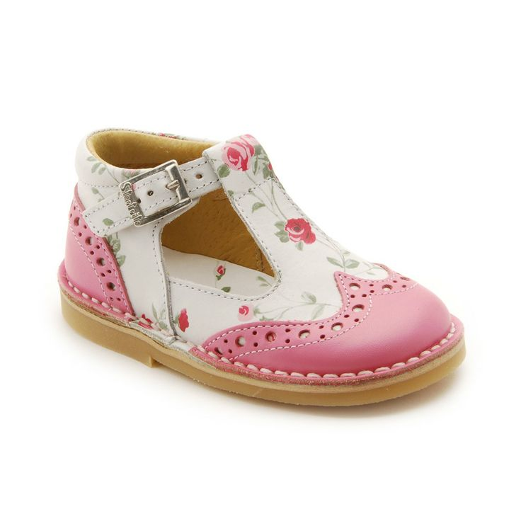 Startrite English Rose Ruby Rose Pink Flowered T-Bar Shoes