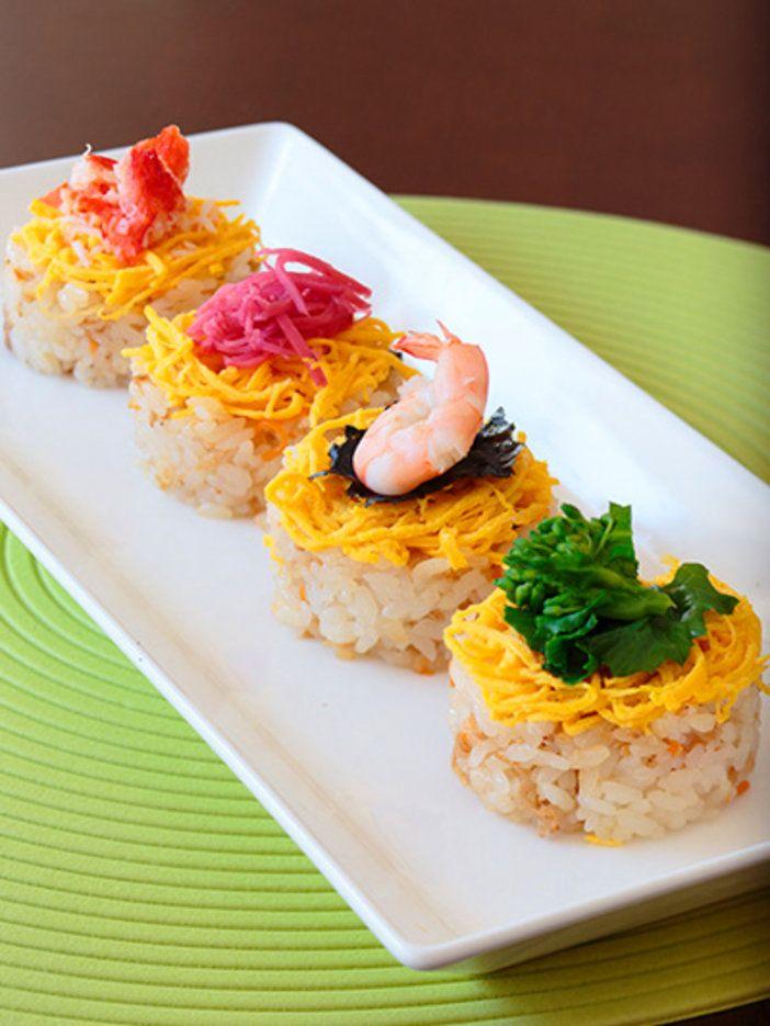 それぞれ具の違うミニちらし。すべて味わって1つのちらし寿司にできあがり|『ELLE a table』はおしゃれで簡単なレシピが満載!