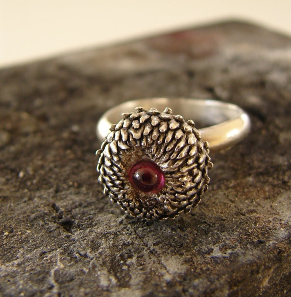 Acorn Ring with Rhodonite Woodland Series Sterling by Nafsika, $70.00