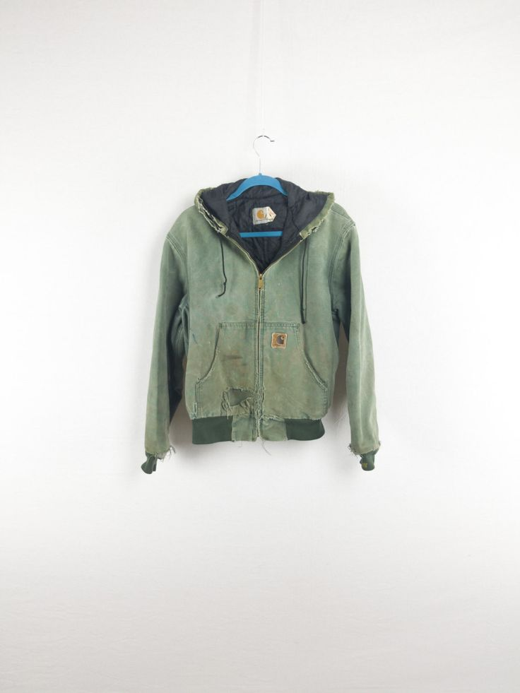 Shredded Green Carhartt Coat w/ Hood