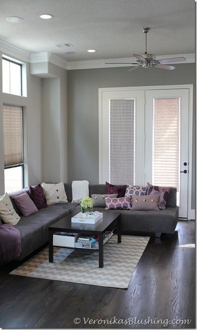 taupe walls grey sofa