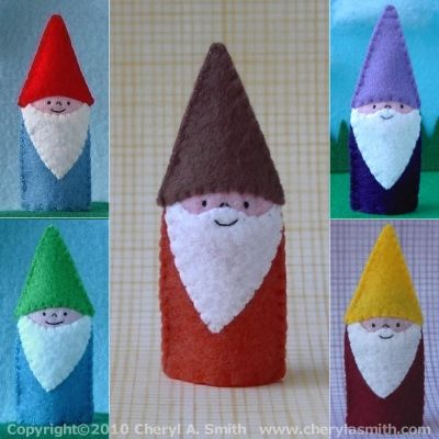 DIY Autumn Kids; Take a Good Look at this Cute Gnome Felt Finger Puppets, I think it's not that difficult to Copy them.... •|• DIY Herfst; Kijk goed naar deze schattige vilten Kabouter Vingerpopjes. Ik denk dat ze niet zo moeilijk 'na' te maken zijn .... (*^ー゚)b