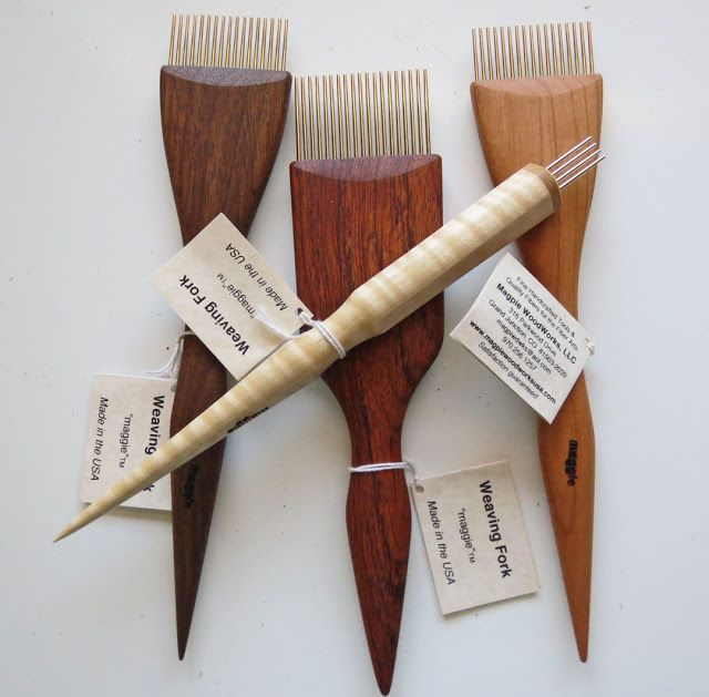 Magpie Forks I have 3 in Walnut. This is my all time favorite tapestry fork. Nice photo you can see the different woods and the high quality of this tool. Very well made. Rebecca Mezoff, Tapestry Artist