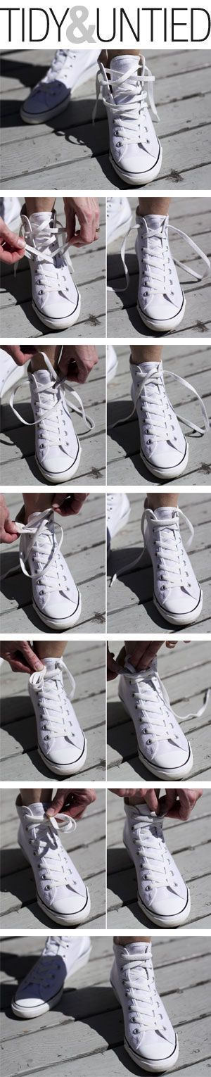 How I tie my white high-tops sans bows. More comfy and streamlined....