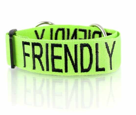 Green FRIENDLY semi slip collar has no buckles, it has an adjustable slide for a custom fit. Simply slip over you dogs head and adjust for a comfortable fit. Designed to tighten by approx 6cm (over 2 inches) when a dog pulls, it acts like a semi choke chain but without the chain ensuring it cannot over tighten harming or alarming your dog.