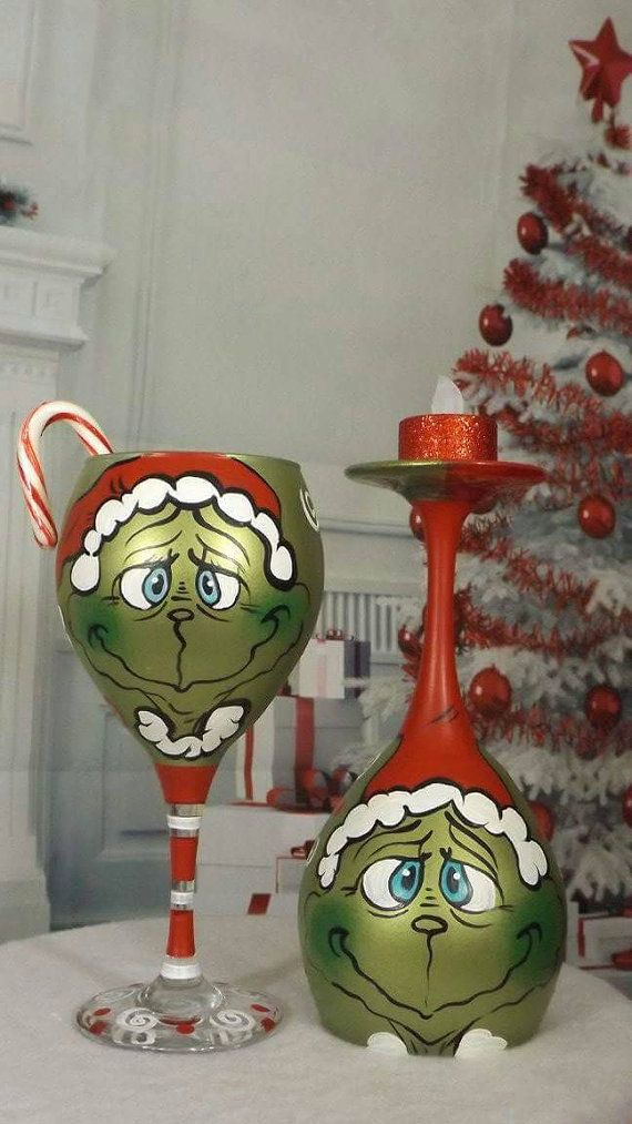 Check out this item in my Etsy shop https://www.etsy.com/listing/256193798/hand-painted-grinch-wine-glass-christmas