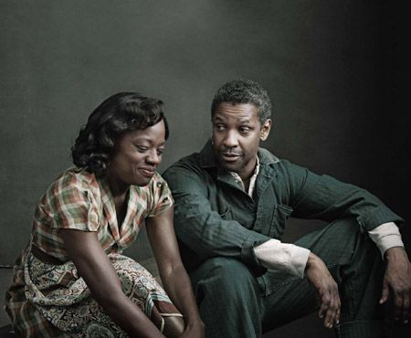 "April 26, 2010  |  Denzel Washington and Viola Davis star in the Broadway revival of Fences, August Wilson's masterpiece.  It took 22 years for the Broadway revival... the answer was Denzel Washington, a star with the deep-rooted masculinity, emotional ballast, and unstoppable charisma required to play a character who, as this production's director (and longtime Wilson collaborator), Kenny Leon, puts it, ""is on a scale with Othello, Lear, Willy Loman.""  Photo: Annie Leibovitz"