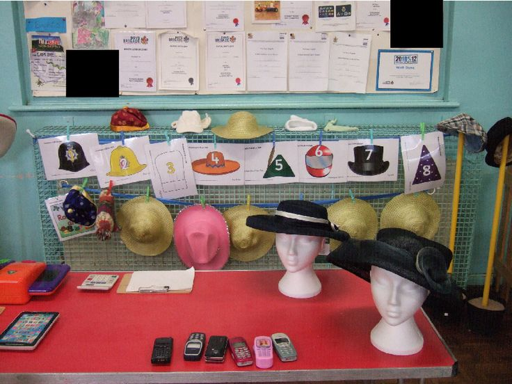 Hat Shop role-play area classroom display photo - SparkleBox