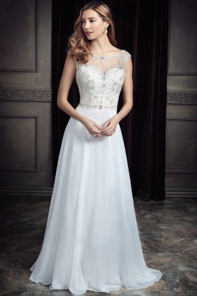 Fancy Court Train Chiffon Scoop A-line Beading Cap Sleeve Coast Wedding Dresses
