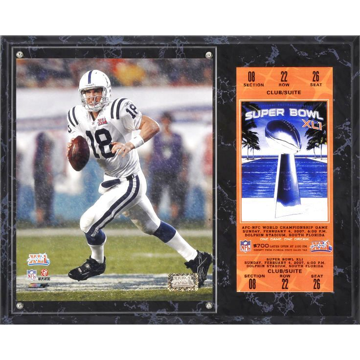"Peyton Manning Indianapolis Colts Fanatics Authentic 12"" x 15"" Super Bowl XLI Sublimated Plaque with Replica Ticket - $31.99"