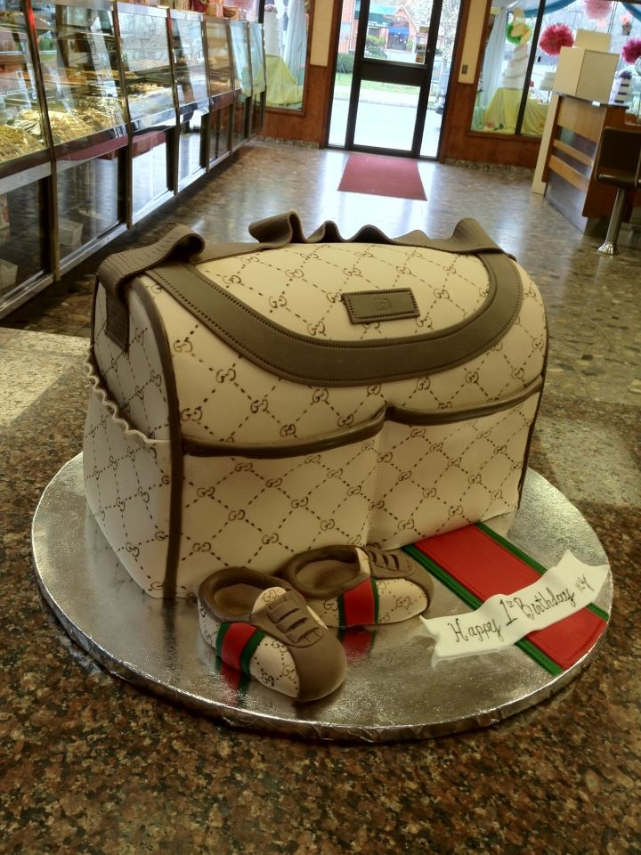 Gucci Diaper Bag cake by Modern Pastry Shop Inc in Hartford, CT. http://www.modernpastryshop.com