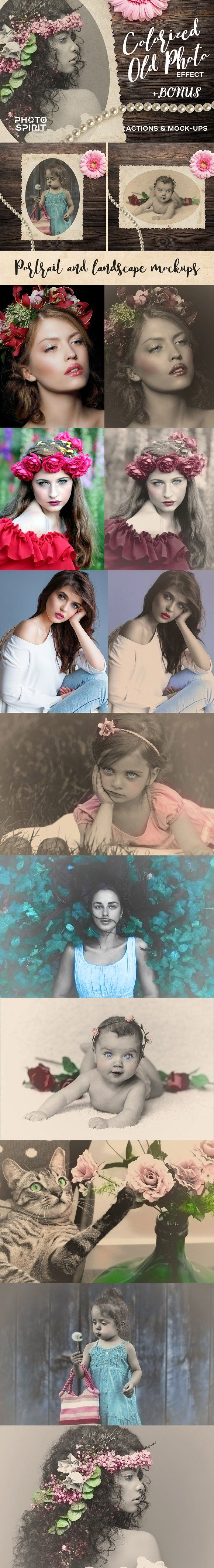 Colorized Old Photo Effect Photoshop by PhotoSpirit on @creativemarket