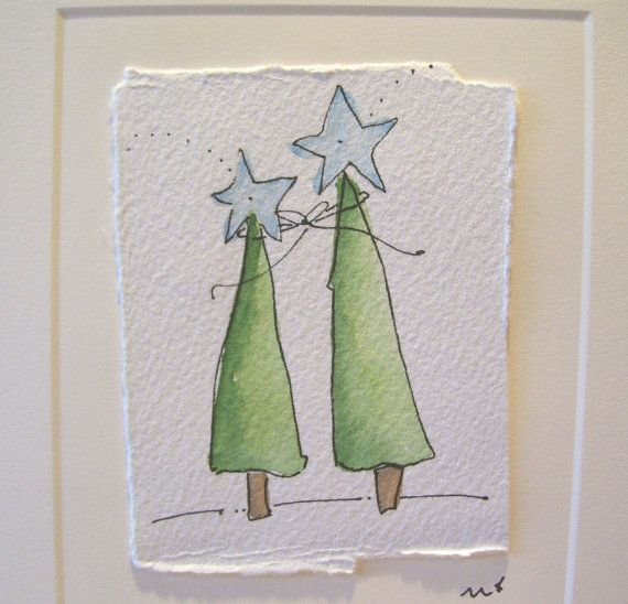 Aquarelle carte de Noël » ensemble des Bright Shining » avec l'enveloppe betrueoriginals