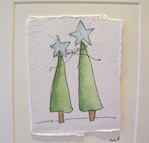 Watercolor Card Christmas Together Shining by betrueoriginalart