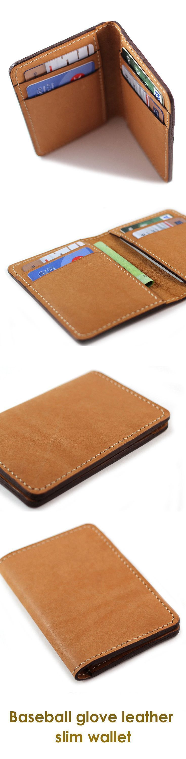 Baseball Glove Leather Slim bi fold (billfold) Wallet in brown. Perfect wallet gift for dad and boyfriend. Gift for groomsmen gift, wedding, birthday, holiday, Christmas, Anniversary gift. Gift for men