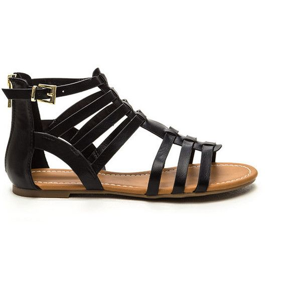 Festival Chic Caged Gladiator Sandals BLACK found on Polyvore featuring shoes, sandals, flats, black, black flat shoes, black open toe flats, t-strap flats, gladiator sandals shoes and black flats