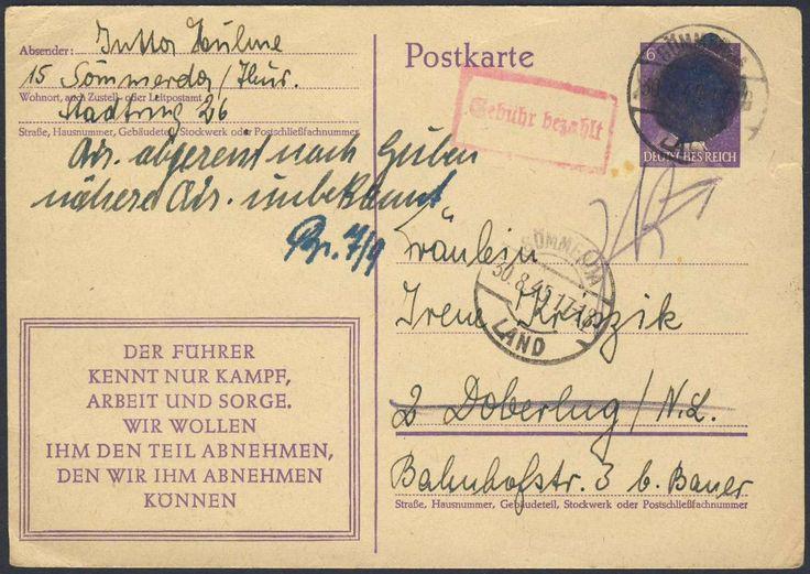 """German Russian Occupation, SBZ 1945, 6 Pfg.-Aufbrauchkarte, Hitlerschwärzung von Sömmerda mit beigesetztem """"Gebühr-Bezahlt""""-Stempel, bedarfsgelaufener Retour-Beleg (Mi.-Nr.AP 312/08 /Mi.EUR 170,--). Price Estimate (8/2016): 60 EUR."""