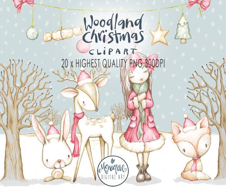 Christmas Woodland animals clipart,Christmas Tree,fox,deer,bunny,girl,planner clipart,watercolor,hand painted,Nursery, Monique Digital