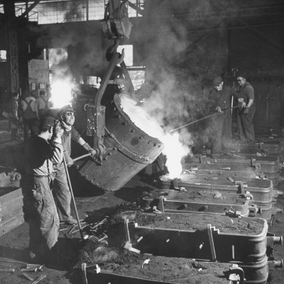 Men Working at the Iron and Steel Mill Posters