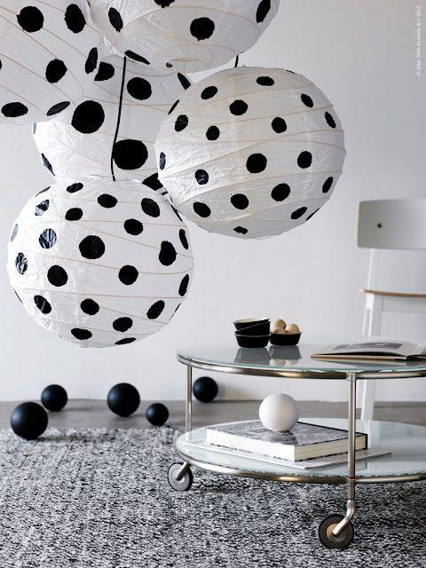 Black/white theme...paint golf balls black ....   Lanterns black...white .....and some polka dots.