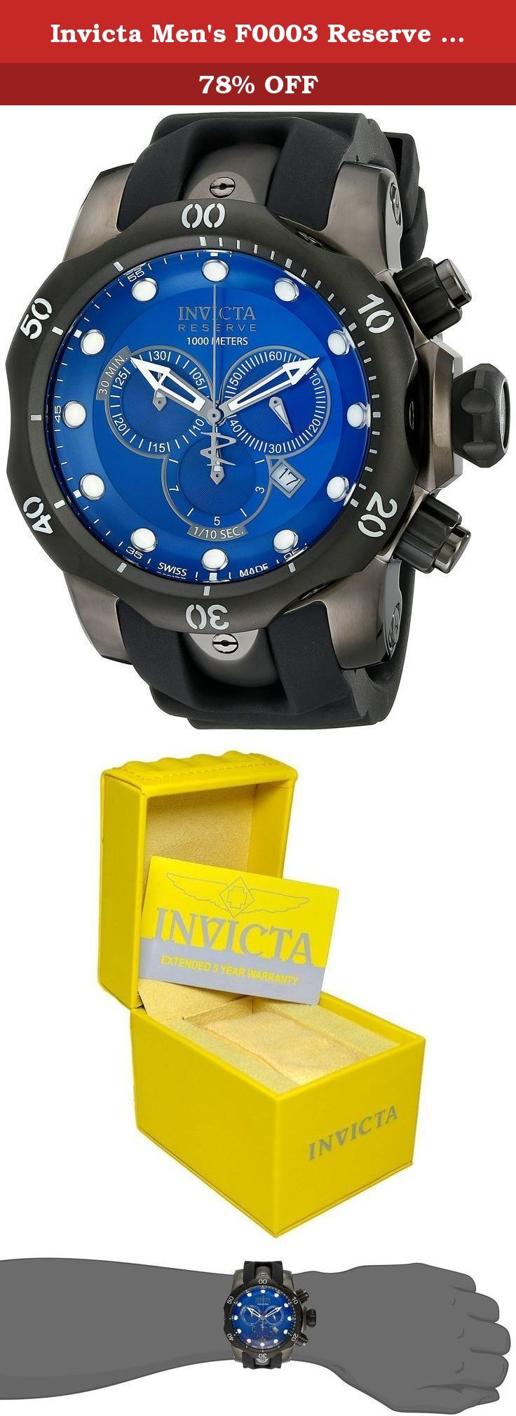 """Invicta Men's F0003 Reserve Collection Venom Chronograph Gunmetal Ion-Plated Watch. Taking its name from """"invincible"""" in Latin, the Invicta watch company was founded in Switzerland in 1837. Exceptional in design and craftsmanship, Invicta watches like this Activa reflect the company's founding principle of offering high-quality Swiss watches at affordable prices. The Dome Crystal Champagne/Red Watch features a rectangular champagne-color face, luminous oversize numerals/markers, and..."""