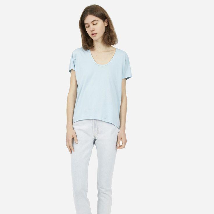 The Cotton U-Neck | Sky, Women's and Cotton