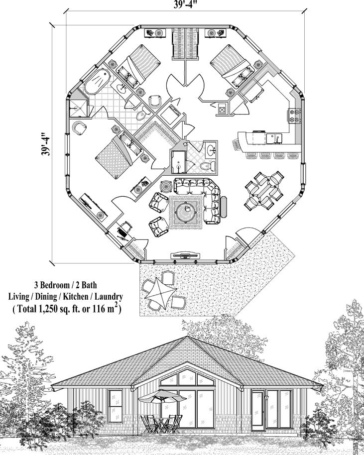 Online House Plan: 1250 sq. ft., 3 Bedrooms, 2 Baths, Patio Collection (PT-0522) by Topsider Homes.