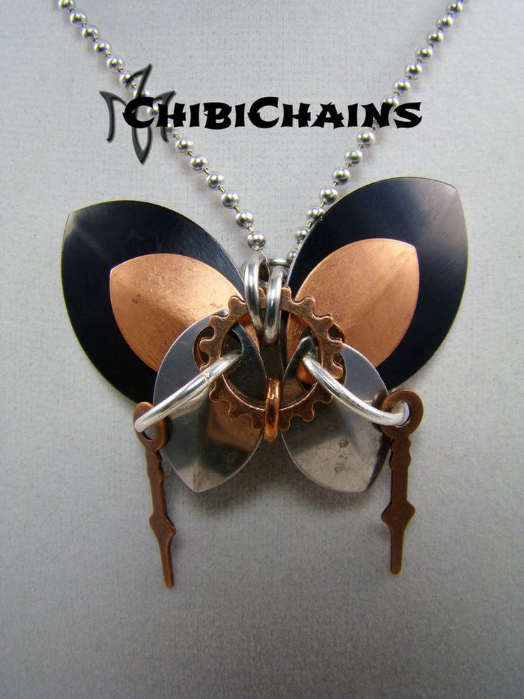 Pendant - Steampunk Butterfly by Chibichains #Chibichains #Chainmail #Chainmaille #Butterfly #Steampunk
