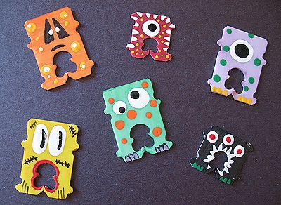 Bread tag craft idea - hand painted little monsters and snowmen. Great for gift bag tags or items wrapped in cellophane.