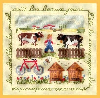 Cows on the farm cross stitch pattern