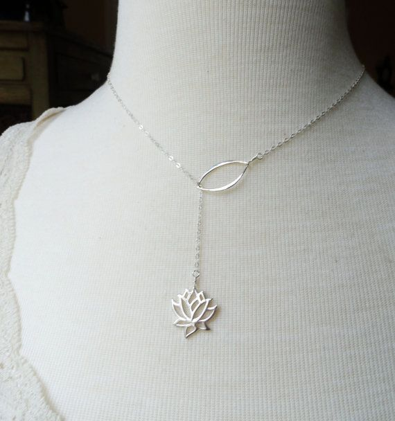 Lotus necklace, lariat necklace, Yoga Jewelry, Sterling Silver, y drop, Bridesmaid Gift, waterlily necklace, lotus lariat, lotus jewelry