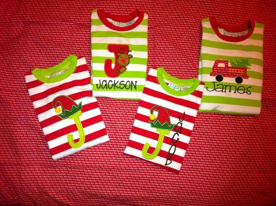 Boys Reindeer Elf firetruck Christmas pajamas set 6 12 mo 2T 3T 4T ...