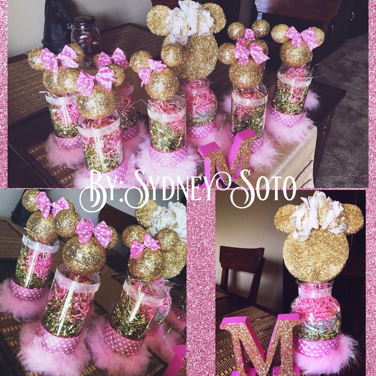 DIY Minnie Mouse Theme Center Pieces! Super Affordable!~Dollar Tree:Long Glass Vases,Pink Polka Dot Ribbon,Grey See Through Ribbon,Confetti inside jars-White,Pink,Gold)& Fake White Roses.~Hobby Lobby: Medium and Small Foam Balls,Long Picks,Gold Glitter,Light Pink Soft Feathers. You'll need a hot glue gun,adhesive glue spray,tooth picks for ears(smaller foam balls),Made bows myself. :) Girl Party Theme,Baby,Baby Shower,Decorations,Mimi,Arreglos para centro de…
