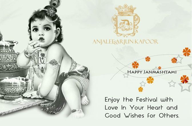 Love is a consistent passion to give persistent hope to receive. Happy Krishna #Janmashtami to all of you from #anjaleeandarjunkapoor #janmashtami2017