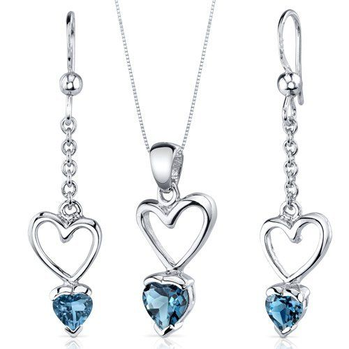 Alluring Love 2.00 carats Heart Shape Sterling Silver with Rhodium Finish London Blue Topaz Pendant Earrings Set Peora. $39.99