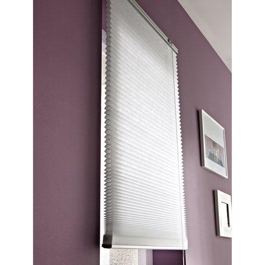 Fenêtre Fixe : Store plissé polyester, blanc, l.100 x H.180 cm