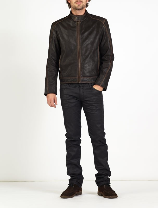 LEONARDO is a superbly #designed #leather #jacket which is a cross between a #classic #bomber #jacket and a #biker #jacket. LEONARDO has a simple yet immaculate cut, made of vintage finish leather with a two tone brown effect and a unique gold triple stitch detail, making LEONARDO a trendy and refined leather jacket for all occasions. #motorbike #leather #jackets  £185.00