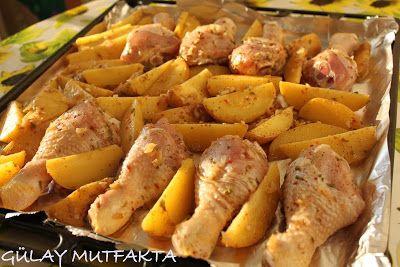 gülay mutfakta: BAHARATLI TAVUK BAGET VE PATATES