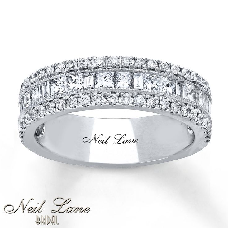 Baguette And Princess Cut Diamonds Distinguish The Center Row Of This Lovely Anniversary Band From Neil Lane BridalR Collection Round Above
