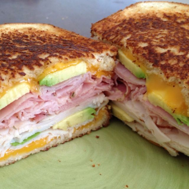 What an amazing sandwich: Grilled Avocado, cheddar cheese, rosemary ...