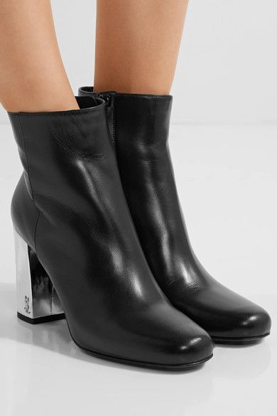 Saint Laurent - Babies Metallic-trimmed Leather Ankle Boots - Black