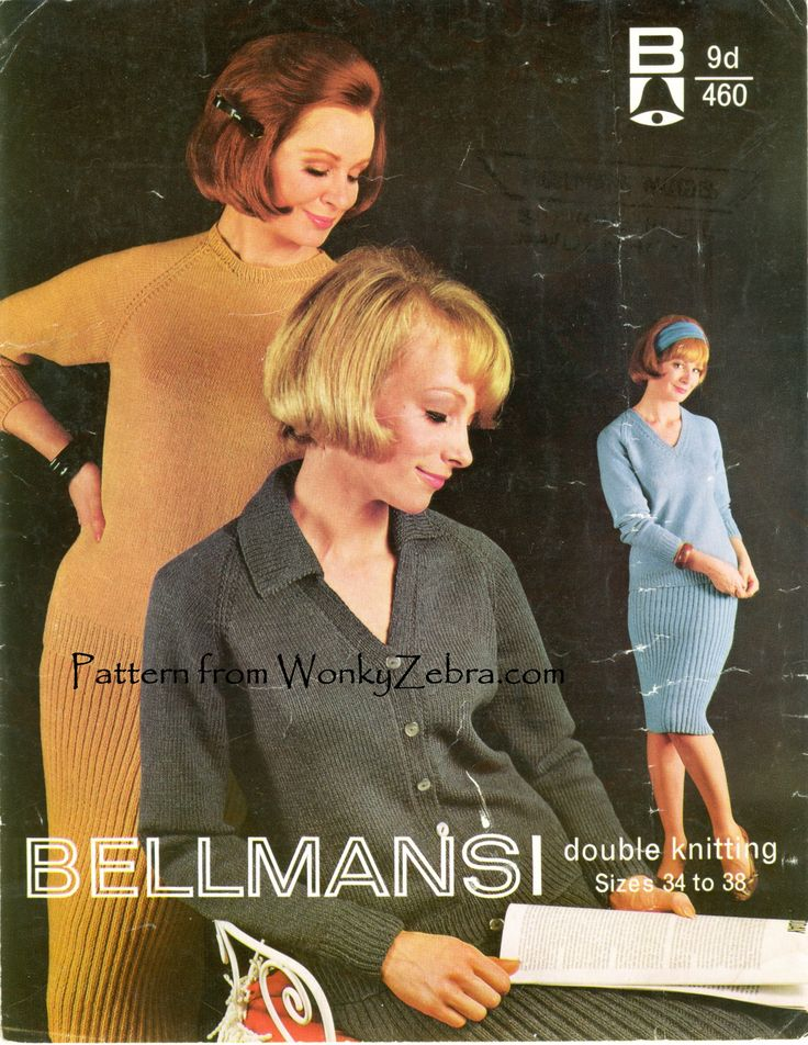 Very sixties knitted jumper suit from Bellmans [number 460] with 3 different sweaters and a ribbed pencil skirt. Knitting pattern PDF WZ121 from WonkyZebra,com.